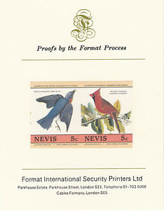 Nevis 2903 - John Audubon BIRDS 5c pair on Format International PROOF CARD