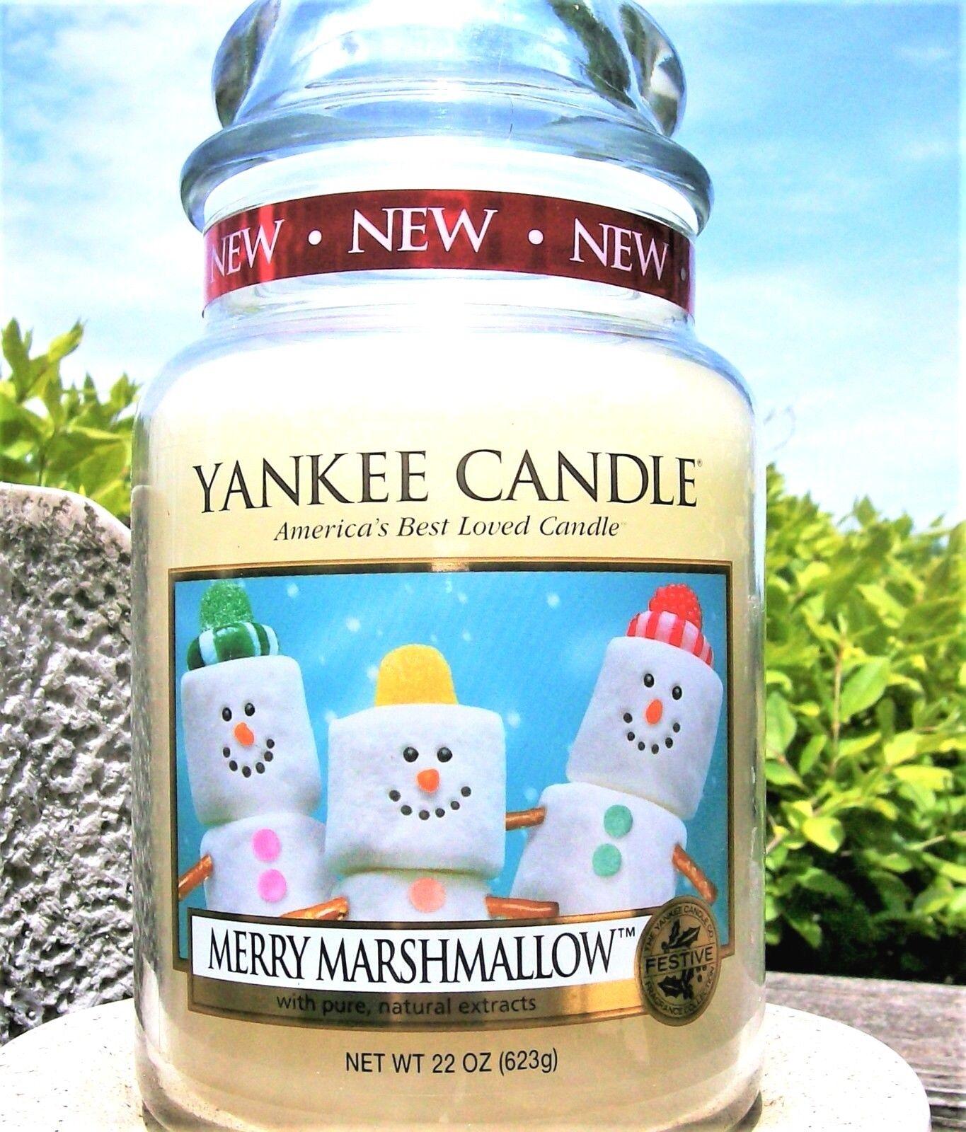 Yankee Candle Retirot  MERRY MARSHMALLOW  Festive 22 oz Weiß LABEL RARE  NEW