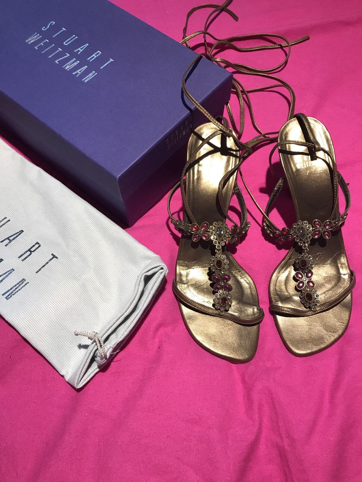 Authentic Stuart Weitzman Stones Bronze Strappy Sandal  Size 7