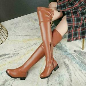 Gothic Womens chic Zipper Buckle low heel Over The Knee High Knight Thigh Boots