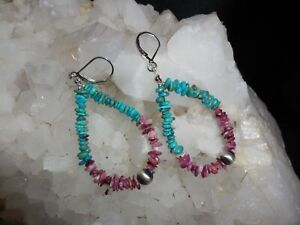 SOUTHWESTERN-NAVAJO-PEARL-SPINY-OYSTER-TURQUOISE-AND-STERLING-SILVER-EARRINGS
