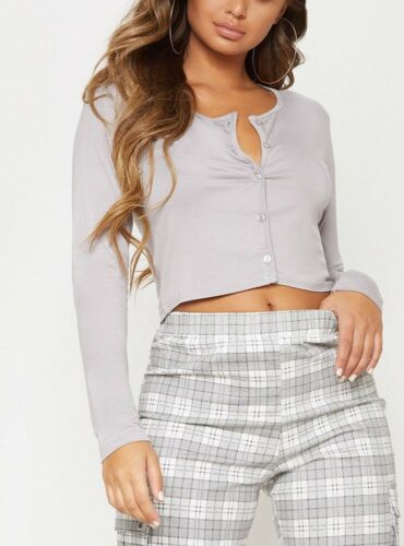 LADIES WOMENS BUTTON FRONT LONG SLEEVE CROP TOP RRP£12.00
