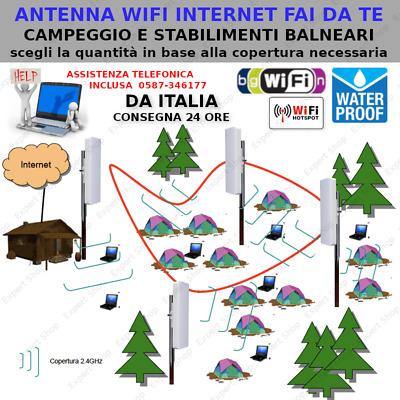 Ponte Wifi Fai Da Te.Antenna Wifi Esterno Alta Potenza Internet Campeggio Mare Parco