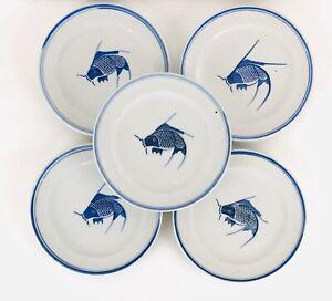 Set-Of-5-China-Cobalt-Koi-Fish-Salad-Plates-Blue-and-White-7-75