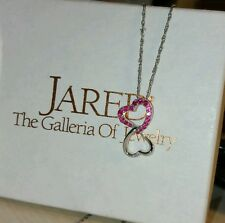 Jared Sterling silver double dangle Heart pink sapphire Pendant necklace