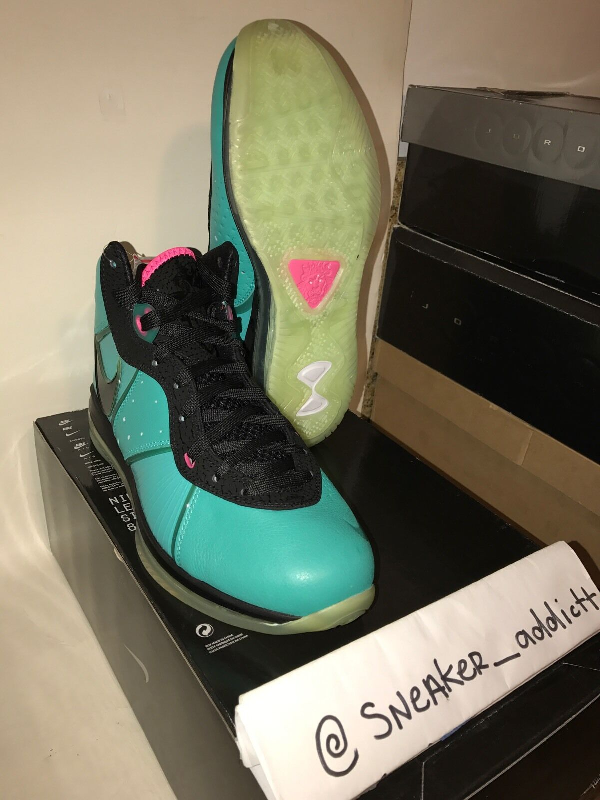 Lebron 8 South Beach Pre Heat Sz 10.5 New Space Jams Bred Concord Cool Grey