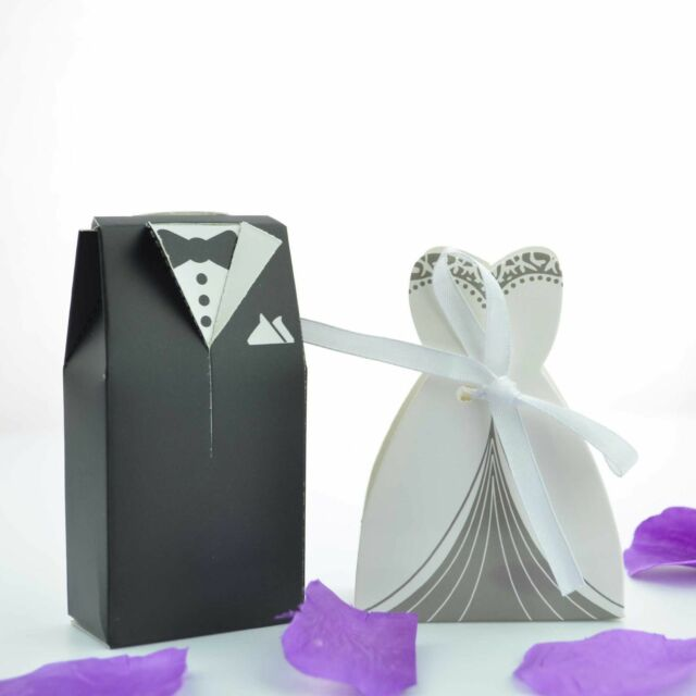 100 Bride And Groom Wedding Favour Candy Boxes Sweets Gift For Guest