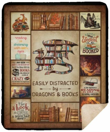 50x60 Easily Distracted By Dragons /& Books Sherpa Blanket