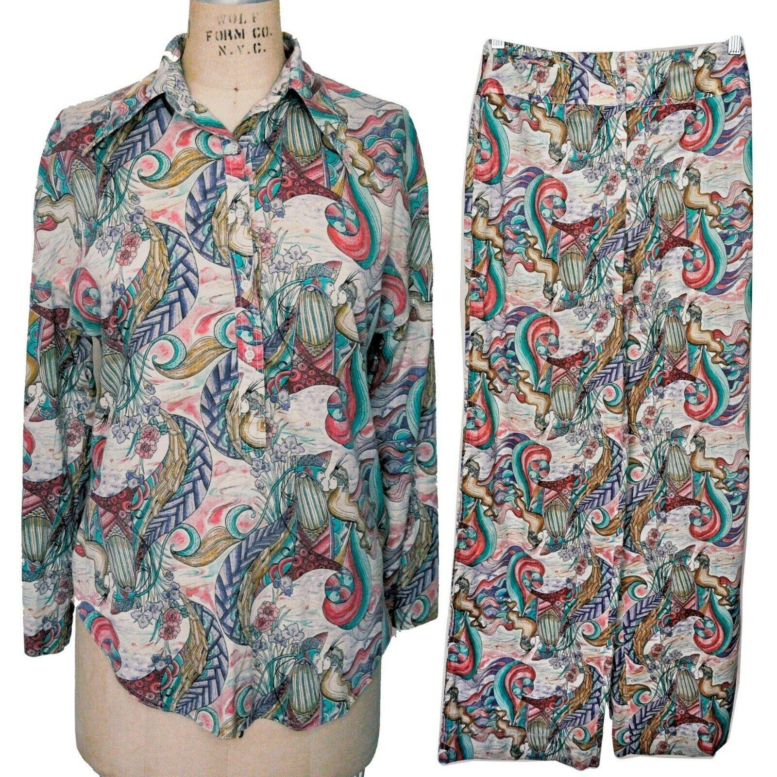 Vintage 70s Novelty Fantasy Print Shirt Pants Set… - image 1