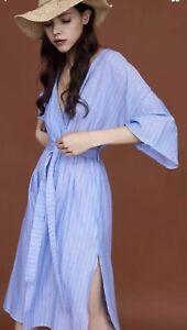 b660a1d71bd Zara SS18 Striped Belted Linen Dress Bell Sleeves Blue Large L 12 ...
