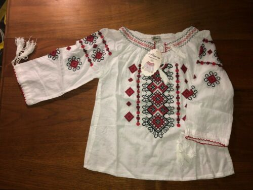 Embroidered Romanian Traditional Girls Blouse, Siz