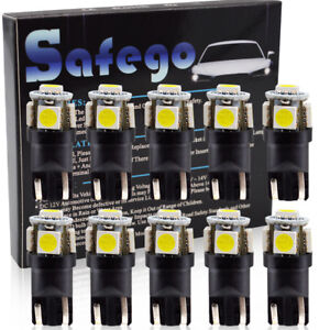 Safego-10X-T10-LED-Gluehlampe-194-168-2825-5050-5SMD-Innenleuchte-6000K-12V