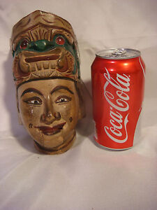 PUPPET-WOOD-HANDPAINTED-HEAD-FACE-GLASS-EYE-CARVE-SCULPTURE-ARTISAN-HANDCRAFTED