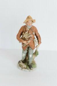 "Vintage Figurine Homco Old Man Gathers Wood 8884 Bisque Porcelain Grandpa 10"""