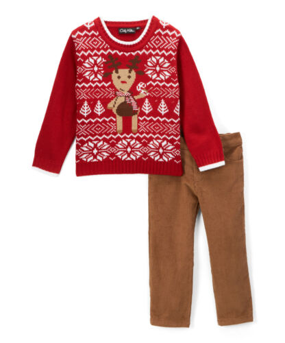 Boys CHRISTMAS sweater outfit 12 18 24 months 6 NWT red reindeer khaki pants