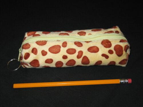 """NEW /""""GIRAFFE PRINT/"""" Girls Furry Animal Pencil Pouch Zipper Case School Bag Favor"""