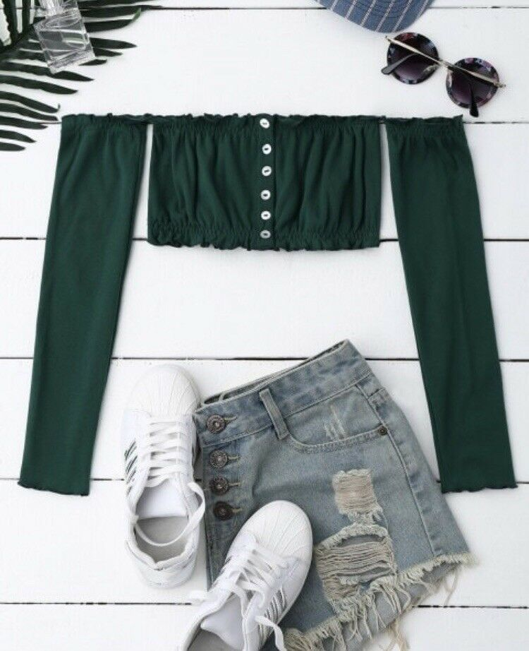 Emerald Forest Green Long Sleeve Off-The-Shoulder Ruffled Button Down Crop Top