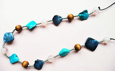 LONG NECKLACE_SHIMMERY TURQUOISE & BLUE MOTHER OF PEARL NUGGET BEADS & PALE PINK