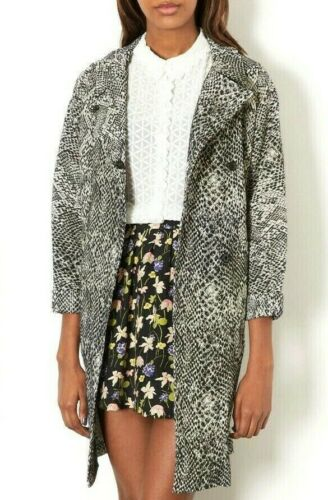 Topshop Black Printed Unlined Duster Jacket Trench Versatile Mac Coat 4 to 18