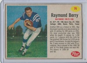 1962-Post-76-Raymond-Berry-Baltimore-Colts-Vintage-Football-Card
