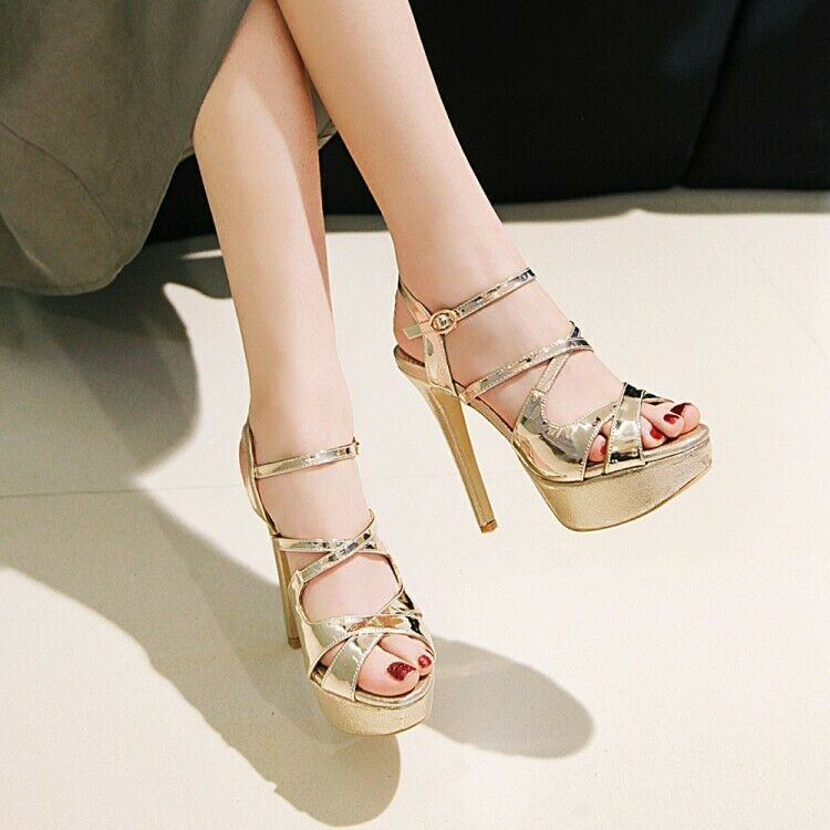 Women Platform Shiny Stiletto Stiletto Stiletto Sandals Peep Toe High Heel Fashion shoes Plus Size 2480d0