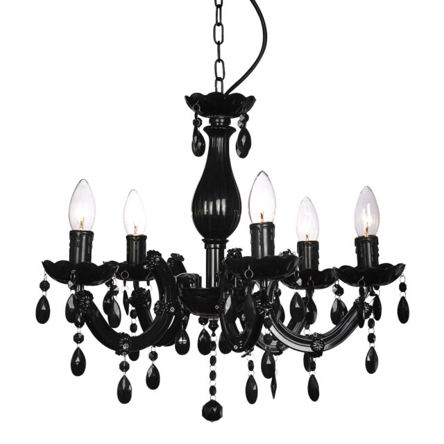 Vintage Style Black Marie Therese Ceiling Pendant Light Fitting Chandelier NEW