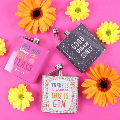 Good Vibes Gin Floral Hip Flask Pink Girls Steel Whisky Womans Pocket Gift 6oz