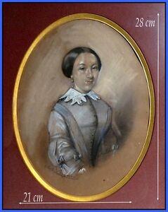 """""""lectrice De L'impératrice Eugénie"""" Fusain Et Pastel Bleu, Signé 1855 Encadré. Les Consommateurs D'Abord"""