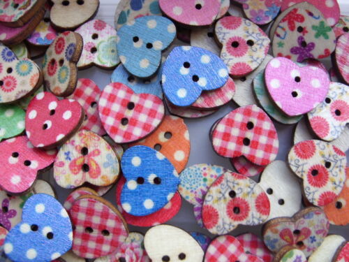 25 pcs Assorted Heart/'s 18mm Patterned Wood  Scrapbooking //// Sewing Buttons  a