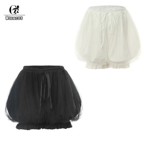 Women Black Gothic Lolita Puffy Double-Layer Basic Shorts Pumpkin Underpants Cos