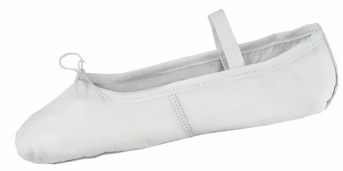 Ballet Slipper Shoe Flats Adults Deluxe Leather White