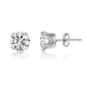 Image Is Loading 2ct White Topaz 925 Sterling Silver Stud Earrings
