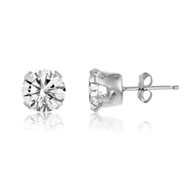 2ct White Topaz 925 Sterling Silver Stud Earrings - 6mm Round