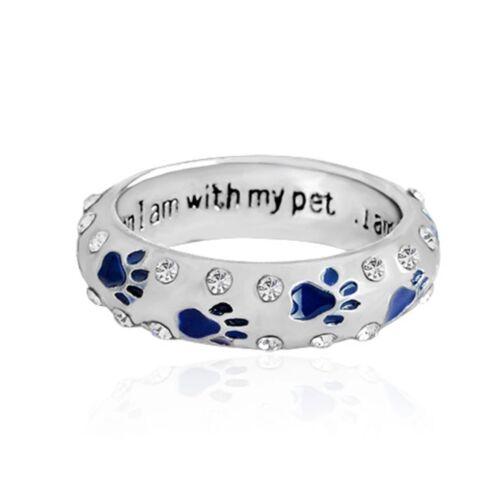 Ring silber mit Hundepfote Pfötchen Pfote Pfoten Hund Katze Strass Glitzer