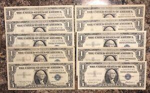 Estrella-Notas-Lote-de-10-Plateado-Certificado-Estrella-Dolar-1957-Billetes