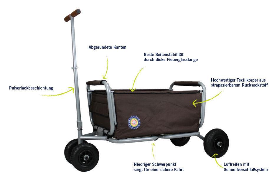 Faltbarer Faltbarer Faltbarer Bollerwagen d. Spitzenklasse faltbar klappbar Handwagen Beachtrekker 87cb6b