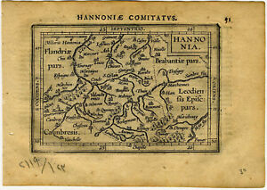 Details about 1609 Genuine Antique miniature map of Belgium & France. by A.  Ortelius