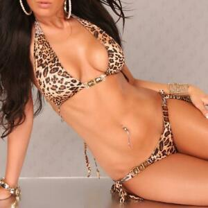 SEXY NECKHOLDER BIKINI BEACHWEAR LEOPARD-LOOK LEO-BRAUN #BI318