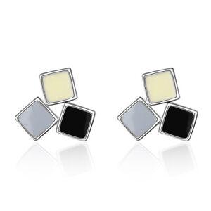 Fashion-Women-039-s-925-Sterling-Silver-Epoxy-Square-Stud-Earrings-FREE-SHIPPING