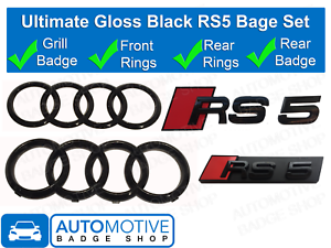 Audi-RS5-anneaux-noir-brillant-calandre-amp-Boot-Badge-Embleme-SET-Full-Black-Out-Set