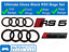 Audi-RS5-anneaux-noir-brillant-calandre-amp-Boot-Badge-Embleme-SET-Full-Black-Out-Set miniature 1