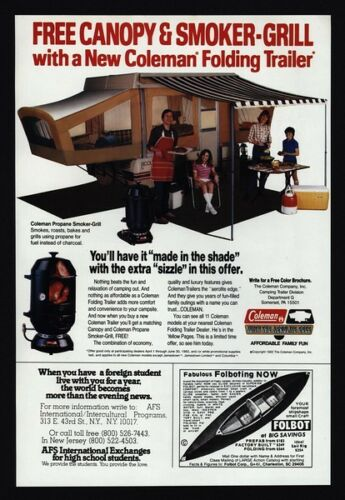 VINTAGE AD Propane Smoker Grill Family 1982 COLEMAN Folding Camp Trailer