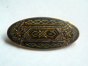 1940s-50s-EARLY-DAMASCENE-BROOCH-1-3-4-034-4-5cm-with-TROMBONE-CLASP