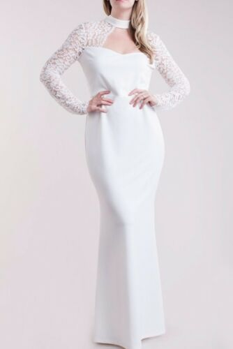 Plus Cut Out Lace Top Mermaid Maxi Dress Gown Black Ivory White
