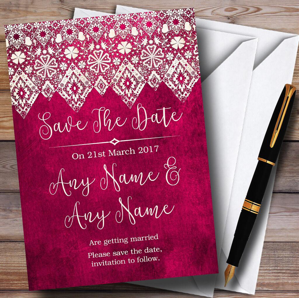Baies rose vieux papiers & dentelle personnalisé effet personnalisé dentelle mariage enregistrer les cartes Date b35cec