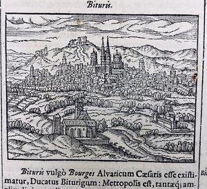 Bourges-en-1695-Cher-Berry-Rarissime-Gravure-Sur-bois-ancienne