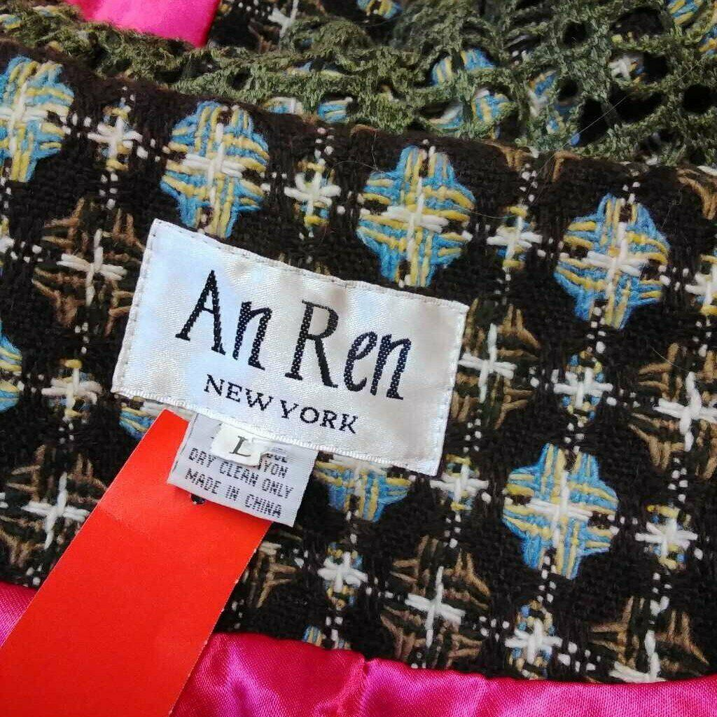 AN REN NEW YORK BROWN MULTI COLOR COAT SIZE LARGE - image 5