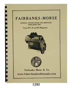 Details about F-M Magneto Types R, RV, & R2 Instruction, Service, & Parts  Manual #1292