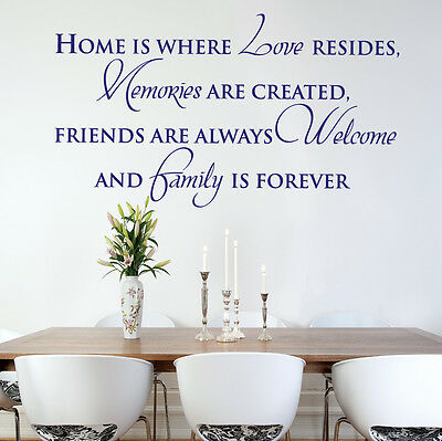 HOME IS WHERE LOVE RESIDES, FAMILY IS FOREVER- Vinyl Wall Art Sticker, Decal
