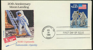 Moon-Landing-20th-Anniversary-Stamp-2419-USPS-Cache-FDC-Unaddressed-LOT-1254